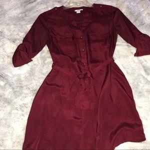 Red Silk Button Up Dress